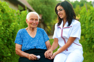 skilled nurse and elderly woman